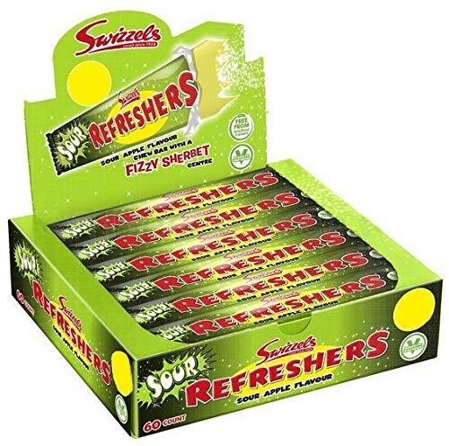 Swizzels Refreshers - Barras para masticar con sabor a manzana agria, caja completa de dulces vegetarianos