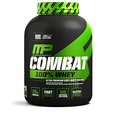 MusclePharm Combat 100% Whey MuscleBuilding Whey Protein Powder 25 g of UltraPremium GlutenFree LowFat Blend of FastDigesting Whey Protein Chocolate Milk 5Pound 68 Servings