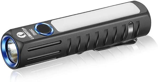 LuminTop EDC05C 14500 电池不含 Micro USB 可充电双闪光灯 500lm Cree LED 手电筒带磁性尾盖