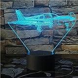 A-Generic Avión 3D Luz Led 16 Colores Cambiar Aviones de Combate Avión Lámpara 3D Juguetes Mesa Bebé Lámpara USB Control Remoto