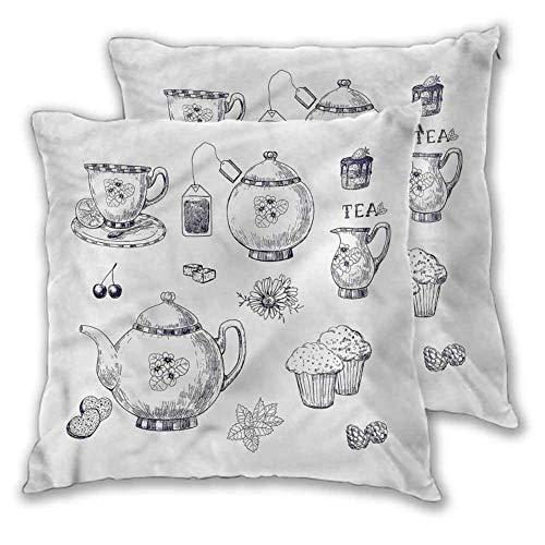 koniqiwa Blauer und weißer quadratischer Innenkissenbezug Teekannen und Tassen Atmungsaktive seidige ultraweiche für Sofa Couch Bett und Auto