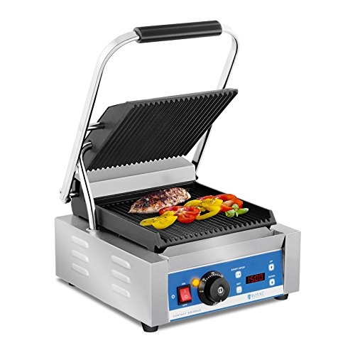 Royal Catering RCKG-2200-GY Contactgrill - geribbeld- timer - 1.800 w