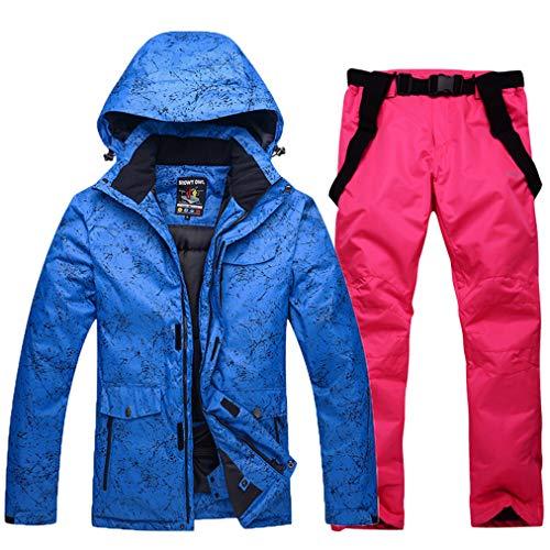 Skijacken und Hosen Set für Damen und Herren Hohe Winddicht Wasserdicht Schneeanzug Snowboard & Skianzug Skiausrüstung Ski-Outfit Snowboard Skianzug Hose Geeignet für Snowboarden Gr. XL, Blau4