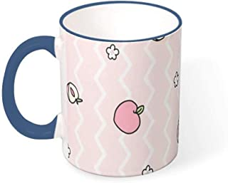 FUNcupshop Funny Ceramic Coffee Cups Fashion Lovely Pink Peach Stripes Geometry Artwork Print White Tea Cups Decorative Cocoa Cups Dormitory Gift Mugs for Family and Friend