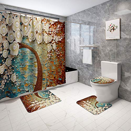 ZLWSSA Yellow Flower Tree Shower Curtain Carved Flowers Non-Slip Rugs Toilet Lid Cover And Bath Mat Bathroom Decor W180xH200cm