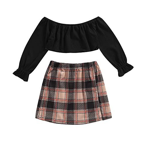 ZZLBUF Faldón de niña para niña, hombros descubiertos, color sólido, manga larga y falda a cuadros con abertura, Negro, 5 años