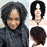 Dreadlock Wigs 6 Inch Short Faux Wigs With Bangs 190g Dread lock Synthetic locs Hair Wigs For Women (BLACK)