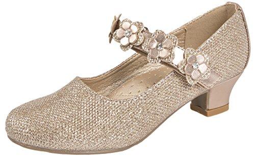 Lora Dora Mädchen-Pumps, Mary Jane, Partyschuhe mit Glitzer und Diamanten, für Brautjungfern, niedriger Absatz, Gold - Rose Gold - Flower Strap - Größe: 33 EU
