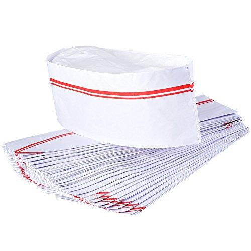 Irich 40 Stück Weiß Papier Kochmütze, Chef Hat Mütze für Küche Restaurant Schule Cook Kochen BBQ