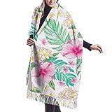 Tengyuntong Bufanda de mantón Mujer Chales para, Acuarela Hibiscus Casual Chal Bufanda Bufanda De Invierno De Cachemira Para Mujeres Hombres