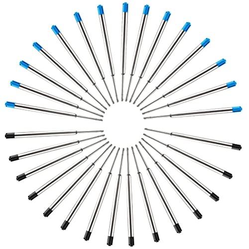 30 Pezzi Ricariche di Penna a Sfera in Metallo, Refill Nero e Blu per Penne Parker Punta Media - 15pz blu, 15pz nero