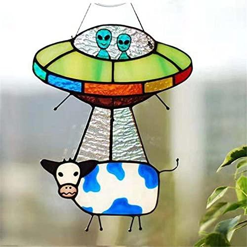 Alien and Cow Stained Glass Suncatcher Window Panel, Hand Painted UFO Hanging Pendant Mobile Window Wall Art Decoration Garden Home Accessories Sun Catcher Wind sculpture 5.0 * 23.0 * 1.0 cm