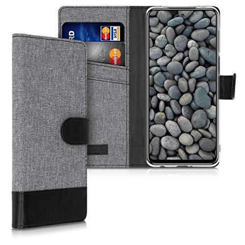 kwmobile Funda Compatible con Xiaomi Redmi Note 9S / 9 Pro / 9 Pro MAX - Carcasa de Tela y Cuero sintético Tarjetero Gris/Negro