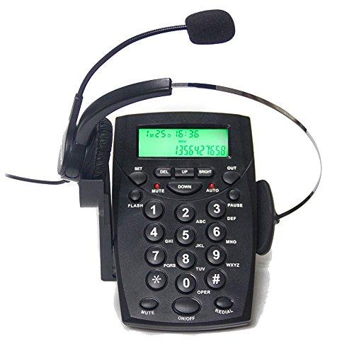 Centro de llamadas TelPal con auriculares con intercomunicador y cancelacion de ruido HA0021, Dispositivo fijo analogico para casa o oficina