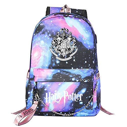 Mochila de Ocio para Estudiantes de Hogwarts, Mochila Harry Potter Starry Sky, con Mochila de Interfaz de Carga USB style-10