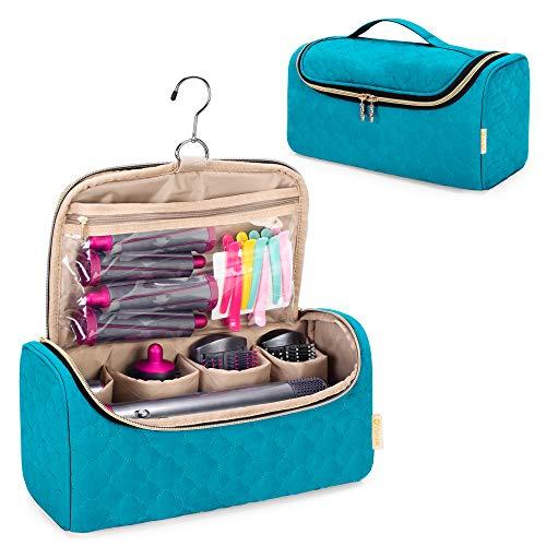 Yarwo Bolsa Protecdora de Viaje Compatiple con Dyson Airwrap Styler y Archivos Adjuntos, Estuche Portátil Organizadora con Gancho de Colgar para Accesorios para Rizadores de Pelo, Verde Azulado.