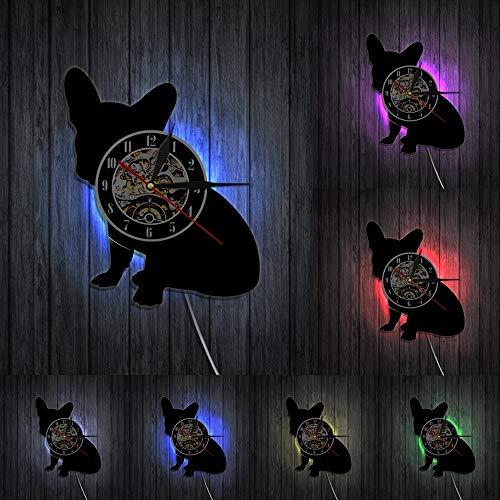 Reloj de pared con diseño de bulldog francés Franco the Dog Breed Frenchie Dog Vinyl Record Wall Clock Puppy Pet Home Decor Dog Silhouette Reloj sin LED