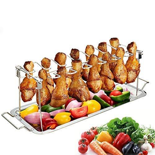 JanTeel Hähnchenschenkel Halter inkl, Hochwertiger Geflügelhalter aus Edelstahl für gleichmäßig gegarte Hähnchenkeulen aus dem Backofen oder vom Grill