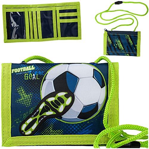 alles-meine.de GmbH Geldbörse / Brustbeutel - Fußball - Fußballschuh - mit Sichtfenster - für Buskarte + Kordel zum Umhängen - Geldbeutel & Portemonnaie für Kinder - Geld - Folie..