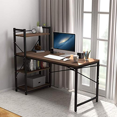 Tower Computer Desk with 4 Tier Storage Shelves - 47.6'' Multi Level Writing Study Table with Bookshelves Modern Steel Frame Wood Desk Compact for Small Spaces Home Office Workstation Walnut