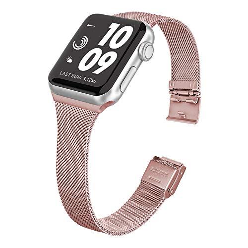 WAIYI Correa Metal Compatible con Apple Watch 38mm 40mm 42mm 44mm,Pulsera de Repuesto Hebilla Ajustable Correa Fina de Acero Inoxidable para iWatch Series SE 6 5 4 3 2 1(38mm/40mm, Rosa)