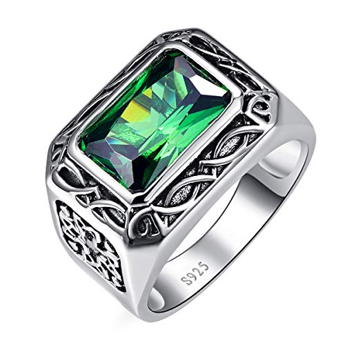 BONLAVIE Men's Celtic Design 6.85ct 8X12mm Radiant Cut Created Green Emerald 925 Sterling Silver Ring Band 11