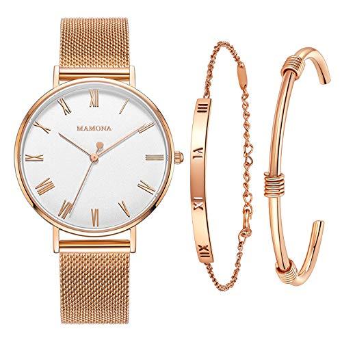 MAMONA Orologio da Donna con Cinturino in Oro Rosa a Fascia con Quadrante Bianco Set con Orologio da Polso L3892RGGT
