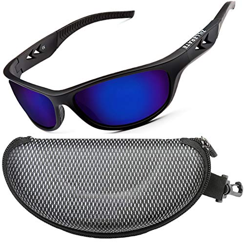 ZILLERATE Gafas De Sol Polarizadas Hombre Gafas De Sol Deportivas para Hombre y Mujer, Protección UV400 con Montura Ligera, Ideal para Ciclismo Esquí Golf Pesca Conducir, Funda Rígida y Cordón