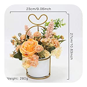Artificial Flowers Bulk, DIY Ins Nordic Style Flower Set Golden Metal Iron Vase Rose Silk Plants Potted Bonsai Table Decor Home Gifts,C 2