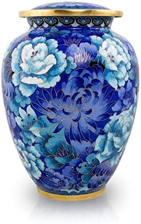 Cloisonne Blue Max 73% OFF Bronze We OFFer at cheap prices Memorial Urn for - Large Hol Ashes Extra