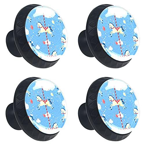 KAMEARI Carrusel - Tiradores para cajón (4 unidades, cristal, forma de círculo, con tornillos, para el hogar, la cocina, la oficina