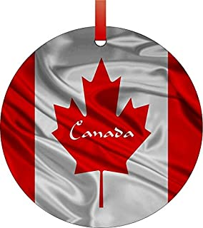 Canadian Flag-Double-Sided Round Shaped Flat Aluminum Christmas Holiday Hanging Tree Ornament. Made in the USA!