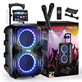 ABRATO Bluetooth Karaoke Speaker with DJ Lights –Dual 8 Inch Portable Machine – 2 Bonus Wireless Microphones - Ideal Gift for Party/Camping Singing
