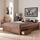 Baxton Studio Wren Modern and Contemporary Walnut Finished 3-Drawer Full Size Platform Storage Bed Frame