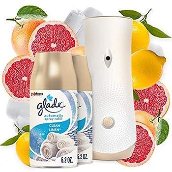 Glade Automatic Spray Holder Starter Kit Air Freshener Spray & Refills Clean Linen 1 Holder + 2 Refills Battery-operated Holder for Automatic Spray Refill 2 6.2 Oz Refills