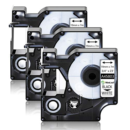 """NineLeaf 3 Pack Compatible for DYMO D1 45803 S0720830 19mm 3/4"""" x 23ft Black on White Label Tape Refill Work in LabelManager 300 350D 400 420P 500TS LabelPoint 300 LabelWriter 450 Duo Label Maker"""