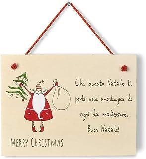 Targa natalizia regalo Natale personalizzabile in legno con Babbo Natale