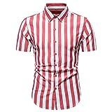 Camisa Hombre Botones A Rayas Transpirables Hombre Camisa Casual Verano Ajustada con Cuello Kent Hombre Camisa Boda Urbana Manga Corta Hombre Negocios Camisa C-Red 3XL