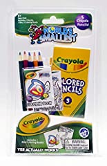 Complete with 5 Crayola colored pencils and a tiny 10 page Crayola coloring book Crayola created designs from simple to complex Portable Crayola Colored Pencils carrying case with take-everywhere keychain A red roof house with a purple car in front