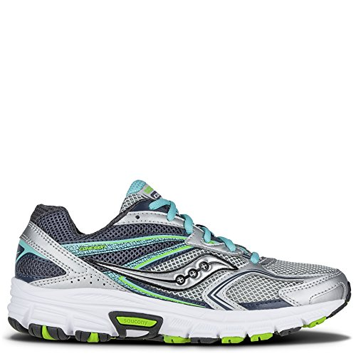 Saucony Women's Grid Cohesion 9 running Shoe, Silver/Blue/Slime, 8 M US