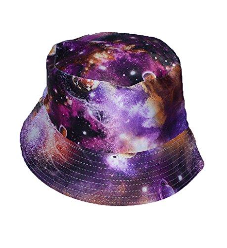 KGM Accessories Cool satiné Universe Impression Seau Style Chapeau de Soleil Violet