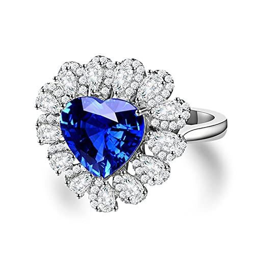 KnSam Mujer Hombre Unisex 18K oro blanco Herz azul Sapphire