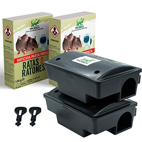 Mice&Co Portacebos para Ratas y Ratones con Raticida - Estación de Cebo para Roedores con Veneno | Pack 2 Portacebos y 300g (2x150g) Cebo