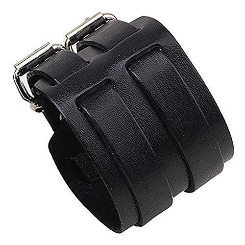 ZENSE - Bracelet de Force Noir en Cuir pour Homme avec Double lanières ZB0265