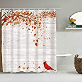 DAHALLAR Duschvorhang,Herbst Herbst Ahorn Blätter Kardinal Vogel auf grauem Holz Land Scheunenwand,personalisierte Deko Badezimmer Vorhang,mit Haken,180 * 180