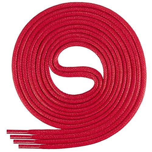 Di Ficchiano-SW-03-red-75 gewachste runde Schnürsenkel, Schuband, Laces, Durchmesser 2-4 mm für Businessschuhe, Anzugschuhe und Lederschuhe