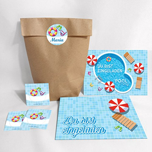 8-er Set Einladungskarten, Umschläge, Tüten, Aufkleber zum Kindergeburtstag Schwimmbad Party / Pool Party / bunte Einladungen (8 Karten + 8 Umschläge + 8 Tüten (Kreuzbodenbeutel) + 8 Aufkleber)