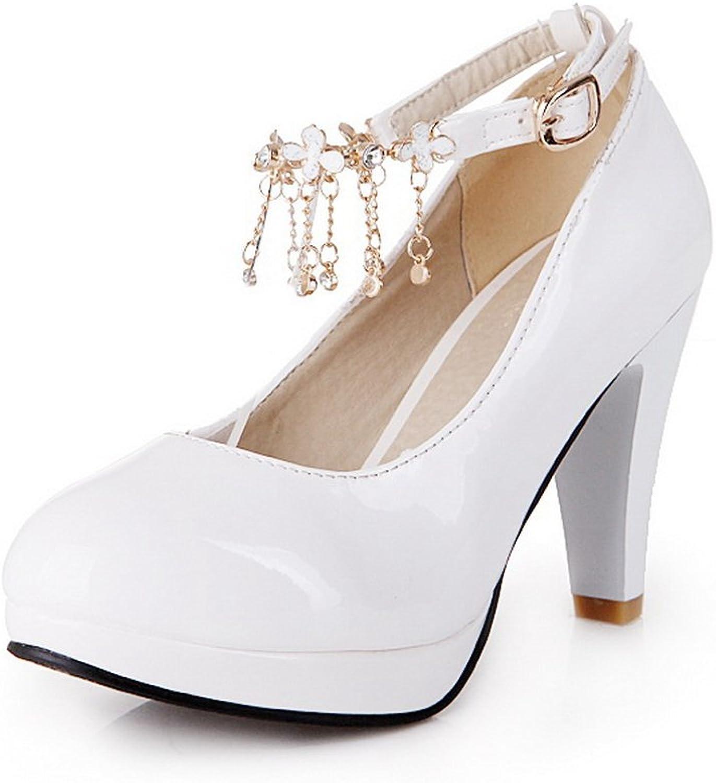 1TO9 Womens Studded Rhinestones Metal Buckles Metal Ornament White Polyurethane Pumps-shoes - 7 B(M) US