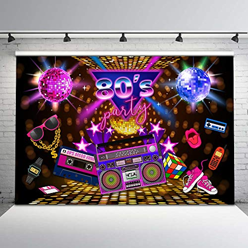Mehofoto 80s Party Backdrop Disco Theme Retro Style Photo Backdrop 7x5 80's Birthday Background Sign 1980's Neon Eighties Photobooth Props