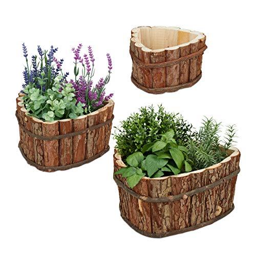 Relaxdays Blumenkasten Holz, 3er Set, Garten Deko zum Bepflanzen, Balkon und Fensterbank, Übertopf, 3 Größen, Natur